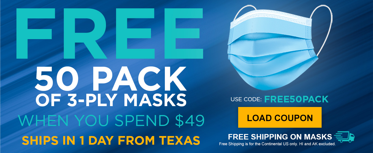 50 Free Masks when you spend $49